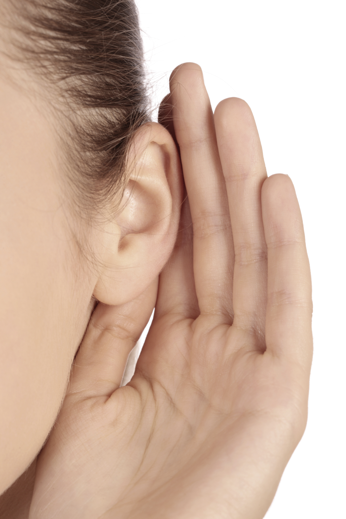 hand with ear cuped.